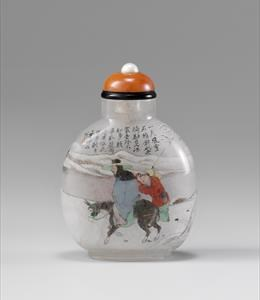 Crystal, painted inside  with the figure of Meng Haren on his donkey with attendant all set in a snowy landscape 1800-1900