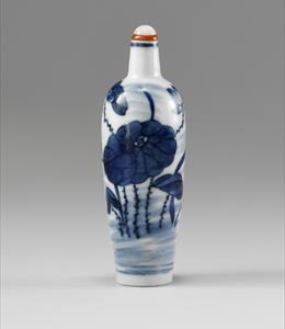 Porcelain, tall cylindrical form, underglaze blue depicting a lotus. 1800-1880 Height: 8.5cm