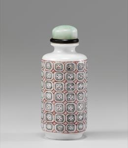 Porcelain, decorated in enamels with geometric 'mon' pattern. Published: John Ault Collection 147. Height: 6.2cm